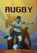Punt Framed Prints - Rugby Player Kicking The Ball Framed Print by Aloysius Patrimonio