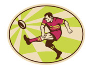 Athlete Digital Art Prints - Rugby player kicking the ball retro Print by Aloysius Patrimonio