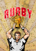Player Posters - Rugby Player Raising Championship World Cup Trophy Poster by Aloysius Patrimonio