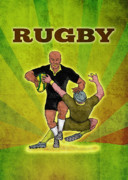 Rugby Framed Prints - Rugby player running attacking with ball Framed Print by Aloysius Patrimonio
