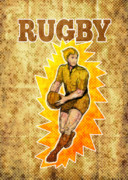 Run Digital Art Metal Prints - Rugby player running passing ball Metal Print by Aloysius Patrimonio