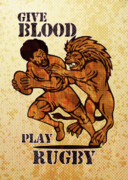 Wood Grain Prints - Rugby player running with ball attack by lion Print by Aloysius Patrimonio