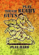 Shark Posters - Rugby player running with ball attack by shark Poster by Aloysius Patrimonio