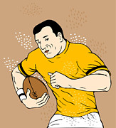 Rugby Posters - Rugby Player Runningwith The Ball Poster by Aloysius Patrimonio