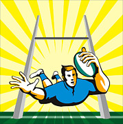 Rugby Posters - Rugby Player Scoring Try Retro Poster by Aloysius Patrimonio