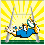 Footie Posters - Rugby Player try Poster by Aloysius Patrimonio