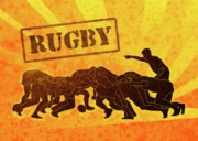 Sports Digital Art Metal Prints - Rugby Players Engaged In Scrum  Metal Print by Aloysius Patrimonio