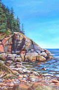 Maine Shore Pastels Originals - Rugged Coast by Linda Spencer