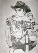Motorcycle Cowboy Art - Rugged by Hilari Alsip