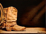 Boots Pyrography Prints - Rugged Print by Minisa Robinson