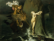 Hero Paintings - Ruggiero Rescuing Angelica by Ingres