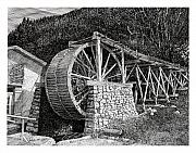 Images Drawings Framed Prints - Ruidoso Waterwheel Framed Print by Jack Pumphrey