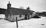 Charming Cottage Prints - Ruined cottage in snow Print by Howard Kennedy