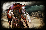 Macabre Digital Art Metal Prints - Ruined Empires - Skin Horse  Metal Print by Mandem