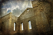 Grey Photo Framed Prints - Ruins of a church in Ontario Framed Print by Sandra Cunningham