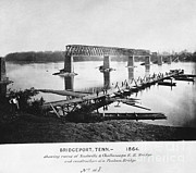 Nashville Tennessee Posters - Ruins Of Bridge, Tennessee, 1864 Poster by Photo Researchers