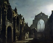 Moonlit Night Painting Posters - Ruins of Holyrood Chapel Poster by Louis Jacques Mande Daguerre