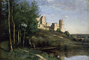 Peaceful Pond Paintings - Ruins of the Chateau de Pierrefonds by Jean Baptiste Camille Corot