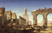 North Africa Painting Framed Prints - Ruins of the Mosque of the Caliph El Haken in Cairo Framed Print by Prosper Georges Antoine Marilhat