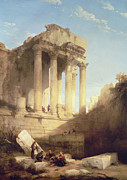 Roman Columns Painting Prints - Ruins of the Temple of Bacchus Print by David Roberts