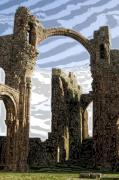 Ruins Glass Art Metal Prints - Ruins on the Holy Island Metal Print by Carl Purcell