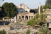 Sites Tapestries Textiles Prints - Ruins. Roman Forum Print by Bernard Jaubert