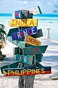 Cayman Islands Framed Prints - Rum Point Signs Grand Cayman Islands Framed Print by George Oze