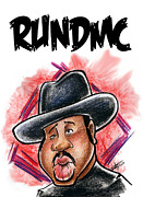 Caricature Drawings Posters - Run Dmc 1 Poster by Big Mike Roate