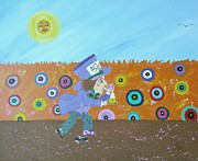 Mad Hatter Painting Originals - Run Hatter Run  by J D  Fields 