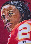 Running Back Painting Framed Prints - Run JC Framed Print by Steve Teets