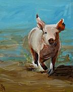 Piglet Paintings - Run Pig Run by Cari Humphry