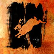 Rabbit Mixed Media Prints - Run Rabbit Run Print by Paul Gaj