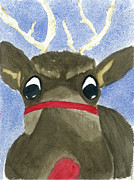 Rudolph Painting Prints - Run Run Rudolph Print by Joan Zepf