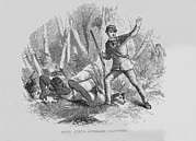 Racism Prints - Runaway Slave With Armed Slave Catcher Print by Everett