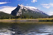 Western Digital Art Posters - Rundle Mountain II Poster by Wayne Bonney