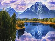 Lakes Digital Art - Rundle Mountain by Wayne Bonney
