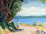Jogging Paintings - Runner Along the Path by Edwin Abreu