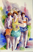 Jogging Paintings - Runners by Imelda Gregov