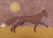 Iron Oxide Paintings - Running Fox and Sun by Sophy White