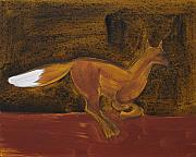 Icon Painting Prints - Running Fox in Iron Oxide and Lime Print by Sophy White