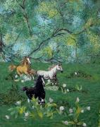Horses Tapestries - Textiles - Running Free by Maureen Wartski