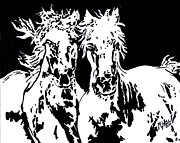 Black And White Pyrography Originals - Running Free by Mike Holder