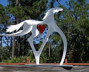 Equine Sculpture Sculptures - Running Free by Mindy Colton