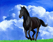 Black Stallion Paintings - Running Free by Snake Jagger