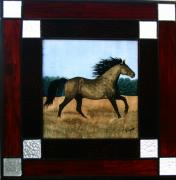 Horse Glass Art Framed Prints - Running Free Framed Print by Valerie Lynn