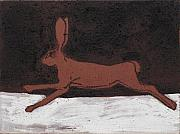 Hare Paintings - Running Hare in Iron Oxide by Sophy White