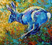 Rabbit Painting Posters - Running Hare Poster by Marion Rose