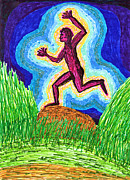 Action Drawings - Running Man June Two K O Nine by Carl Deaville