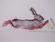Bunny Paintings - Running Rabbit by Lisa Schorr