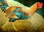 Scott Plaster Paintings - Running Rooster by Scott Plaster